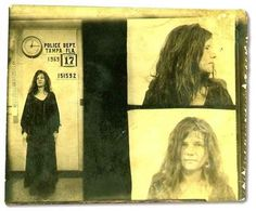 Janis Joplin was arrested in 1969 in Florida and charged with disorderly conduct after yelling obscenities at police officers during a Tampa concert. Charges were later dropped after it was ruled that the singer's actions were an exercise of free speech. Janis Joplin, David Bowie, Jerry Lee Lewis, Johnny Cash, Jane Fonda, Jimi Hendrix, Beatles, Rock And Roll, Rainha Do Rock
