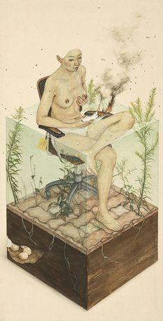 "Artist painter Lee Jin Ju // This illustration brings to mind the ending dialogue on Isabel Coixet's ""The Secret Life of Words"". Art Inspo, Kunst Inspo, Inspiration Art, Art And Illustration, Art Graphique, 2d Art, Fine Art, Art Design, Art Plastique"