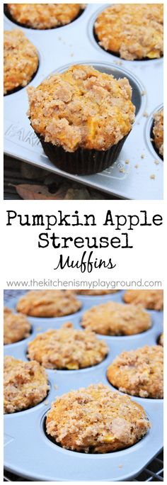 Pumpkin Apple Streusel Muffins ~ 2 fall flavors are perfect together in these tender & tasty muffins!  Freezer-friendly, too.   www.thekitchenismyplayground.com