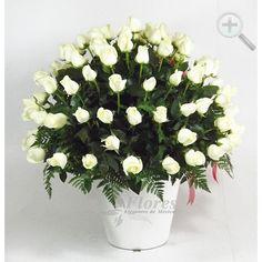 Floreria - Flores Elegantes de Mexico arreglo mixto75 rosas blancas