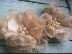 Linen Fabric Flowers Set of 4 Wedding by RhysandRaesCreations, $24.00