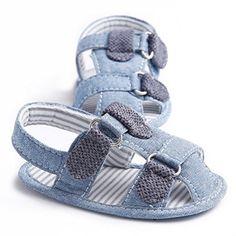 Mjun® Baby Toddler Boys' Cowboy Anti-Slip Flat Sandals Summer Prewalkers (0-6 months, light blue)