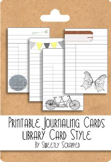 Free printable library cards/journal cards http://sweetlyscrappedart.blogspot.com/2012/01/printable-library-style-journaling.html