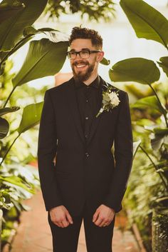 Stylish Groom in Topman Suit, Black Hugo Boss Shirt & Barker Shoes - Matt Penberthy Photography | Contemporary Greenhouse Wedding at Clifton Nurseries London | Custom Made Zoë Boomer Wedding Dress | Public Desire Wedding Shoes