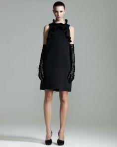 Lanvin Black Ruffled Shift Dress
