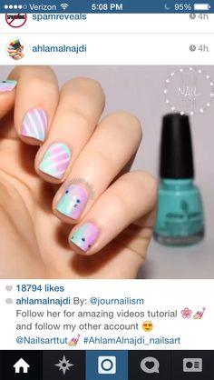 Cotton candy stripe nails