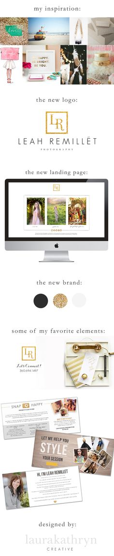 Leah Remillet Photography Branding | gold, charcoal, white & glitter -  by Laura Kathryn creative