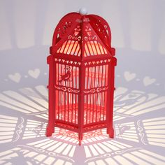 Red Paper Birds Birdcage - Lovebirds hanginglanterns.co.uk