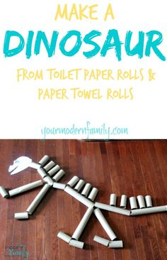 Make a dinosaur with toilet paper and paper towel rolls!