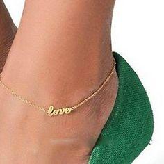 Love Gold Tone Anklet