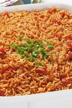 Best Spanish Rice / The Best Spanish Rice Recipe - Chicken broth and salsa make this really tasty! Best Spanish Rice Recipe, Best Red Rice Recipe, Spanish Rice Recipes, Salsa Rice Recipe, Rice Recipes For Dinner, Healthy Rice Recipes, Tasty Recipe, Recipe Recipe, Homemade Spanish Rice