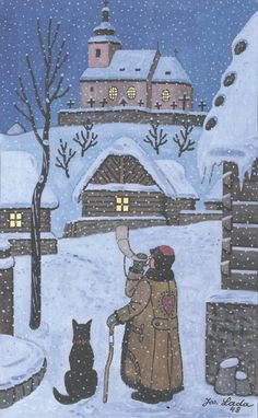 Josef Lada (Czech folk art painter) - Christmas in Czechia Art And Illustration, Illustrations, Art Populaire, Naive Art, Winter Solstice, Prague, Folk Art, Christmas Cards, Artsy