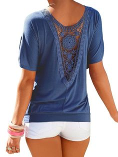 Women Sexy Blouse Loose Backless Hollow Lace T Shirt Tops