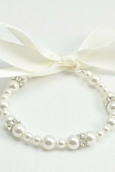 Hope bracelet: Child pearl bracelet with a ribbon tie // flower girl gift // baby pearls // click now to buy