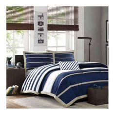 MODERN BLUE WHITE NAVY KHAKI SPORTY BOYS STRIPE COMFORTER SET & SHAMS & PILLOW  #HighQuality