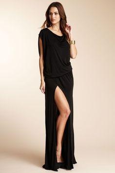 ALEXIS Isabeli Long Dress with Slit  Drop waist, boatneck on or off shoulder, slit skirt, 100% viscose  HauteLook