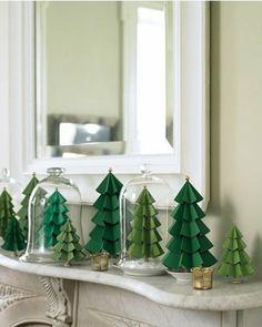 DIY Deko aus Papier tannenbaum grün glasdeckel