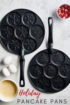 Create the ultimate breakfast with our festive pancake pans, including snowflake and holiday designs. So easy to create fun, imprinted pancakes that are perfect for Christmas morning.
