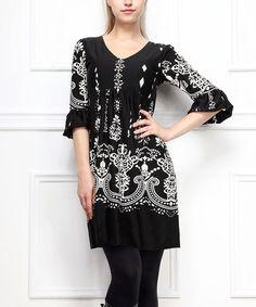 Love this Black Chandelier Ruffle-Sleeve Dress on #zulily! #zulilyfinds