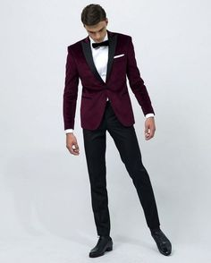 Latest Coat Pant Designs Purple Red Groom Tuxedos Black Lapel Mens Wedding Prom Party Suits Groomsman Suit(Jacket+Pants) Terno