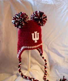 Indiana University Inspired Crochet Baby Ear Flap Hat with Double Pom Poms and IU Logo - Sizes Newborn to 12 Months