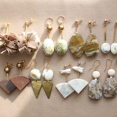 Semi-precious earrings with marble, feldspar and ocean jasper