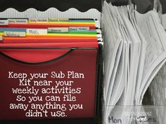 Create A Simple, Easy, and Free Emergency Sub Plan Kit - Education to the Core