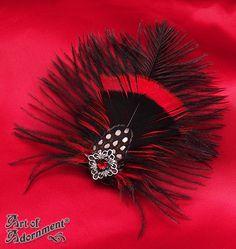 13.65$  Buy now - http://violx.justgood.pw/vig/item.php?t=5bci4kr49911 - Burlesque Gothic FEATHER HAIR CLIP Black Red Fascinator Rhinestone Filigree H66 13.65$