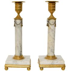 Pair of Gustavian Gilt Bronze and White Marble Candlesticks, Late Century Vintage Candle Holders, Candlestick Holders, Candlesticks, Swedish Interiors, Swedish Style, Oil Lamps, White Marble, Decorative Objects, 18th Century