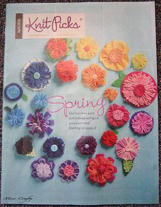 Knit Picks catalogue with loomed flowers
