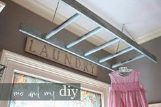 I want to add a ceiling ladder in my new laundry room! Urban farmhouse style and a place to hang drying clothes