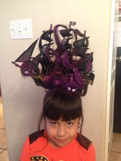 Crazy hair day - Octopus vs. pirate ship Crazy Hair Day Girls, Crazy Hair Day At School, Crazy Hair Days, Wacky Hair Days, Lumpy Space Princess, Diy Crafts For Kids, Kids Diy, Fantasy Hair, Ice Queen
