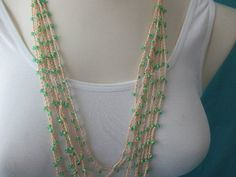 BEADED CROCHET NECKLACE  Aqua/Yellow Beads by QuackyQuilts on Etsy