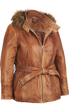 Plus Size Wilsons Leather Belted Leather Hipster w/ Faux-Fur Lined Hood - #WilsonsLeather