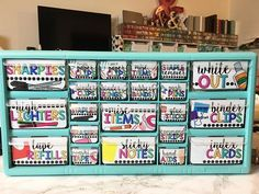 Here's our finished Teacher Toolbox filled with all the necessities    SUPPLIES:  - Printable from https://www.teacherspayteachers.com/Product/Teacher-Toolbox-Labels-BRIGHT-Editable-1967459 - 22 drawer toolbox from Lowes - Valspar Color Radiance spray paint in Nautical   #teacherspayteachers #teachertoolbox #teachcreatemotivate #backtoschool