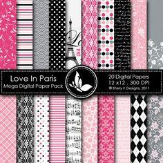Love in Paris - Kit papéis