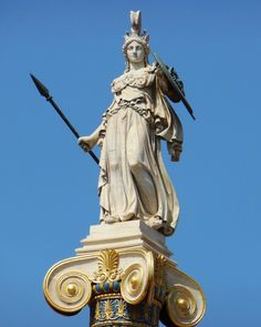 Greek Goddess Athena (Minerva) armored on top of pillar Statue Greek Goddess Statue, Greek Goddess Of Wisdom, Greek Gods And Goddesses, Greek Mythology, Minerva Goddess, Athena Greek Goddess, Athena Statue, Photo Statue, Guerrero Tattoo