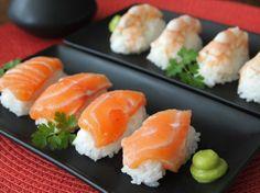 Nigiri Sushi with Prawns and Salmon - Que Rica Vida