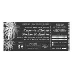 Destination Wedding Invitations Chalkboard ticket destination wedding invitations