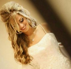 Long and curly wedding hair style