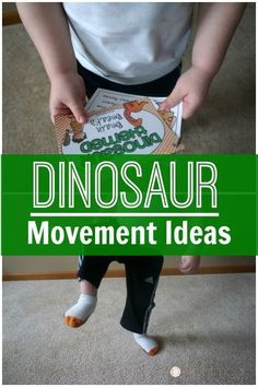 Dinosaur Movement Ideas perfect for the classroom, therapy, or at home. Combine these movement ideas with a dinosaur unit! Perfect for preschool on up! Great for brain breaks!