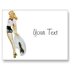 Vintage Retro Pin Up Girl - Blonde with huge Hat Post Card $1