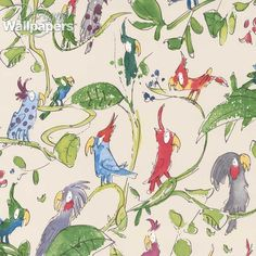 Lots of brightly coloured cheeky cockatoos are perched on jungle leaves in this bold and eye-catching wallpaper from Osborne and Little, Cockatoos. The smallest bird has a height of 9cm/3.5inches and the largest bird 16cm/6.3inches. They have been drawn by the famous cartoonist and children's author, Quentin Blake, a man probably best known for his delightfully funny illustrations in Roald Dahl's books. This makes a great children's wallpaper, but the iconic illustrative style w...