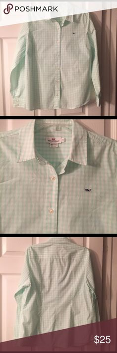 Vineyard Vines Checked Shirt Adorable mint green and white checked button-down shirt, longsleeve, shirt is in very good condition except has one tiny little pull, which is not a hole, on front by the buttons, see pictures.  Hence, the reduction in price. Vineyard Vines Tops Button Down Shirts