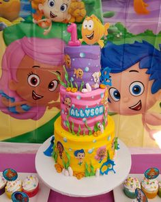 Bubble guppies cake Bubble Guppies Cake, Bubble Guppies Birthday, Birthday Party Themes, 2nd Birthday, Emoji Cake, Party Time, Princess Peach, Birthdays, Bubbles