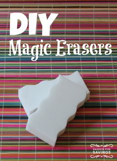 DIY Magic Erasers: Make your own with either of these DIY Magic Eraser ideas! Homemade Cleaning Products, Cleaning Recipes, Natural Cleaning Products, Cleaning Hacks, Cleaning Supplies, Household Products, Household Tips, Household Chores, Flylady