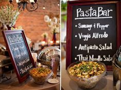 If We Cater Ourselves Like The Idea Of Diffe Pastas With Sign Food Buffetbuffet Ideasbar Ideasdream Weddingwedding