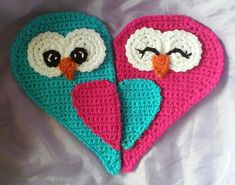 Crochet Heart owl Potholders Pattern Only