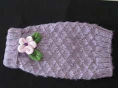 Beautiful and soft, this lavender dog sweater features a lovely lattice background and a special handmade pale lavender flower! Dog Coats And Sweaters, Small Dog Sweaters, Dog Sweater Pattern, Crochet Dog Sweater, Knitting Projects, Knitting Patterns, Puppy Coats, Dog Fashion, Lavender Flowers