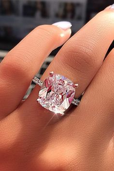 Wedding Jewelry Certified Big Cushion Diamond Solitaire Engagement Ring in White Gold Budget Friendly Engagement Rings, Engagement Rings Under 1000, Dream Engagement Rings, Solitaire Engagement, Pink Diamond Engagement Ring, Coloured Engagement Rings, Expensive Engagement Rings, Engagement Dresses, Perfect Engagement Ring